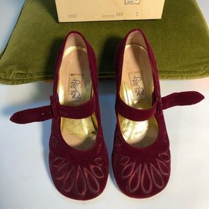 Peter Fox burgundy velvet low-heel mary-janes